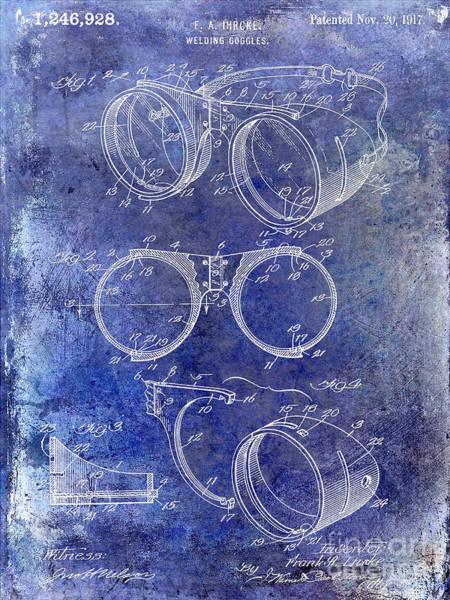 Goggles Wall Art - Photograph - 1917 Welders Goggles Patent Blue by Jon Neidert