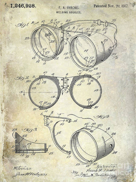 Goggles Wall Art - Photograph - 1917 Welders Goggles Patent  by Jon Neidert