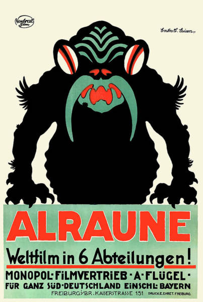 Wall Art - Digital Art - 1918 Alraune Hungarian Horror Film Movie Poster by Retro Graphics