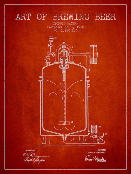 Brewery Digital Art - 1918 Art Of Brewing Beer Patent - Red by Aged Pixel