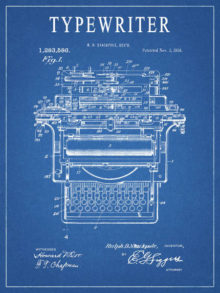 Wall Art - Drawing - 1918 Typewriter by Dan Sproul