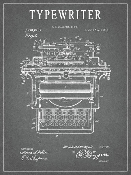 Wall Art - Drawing - 1918 Typewriter Design Patent by Dan Sproul