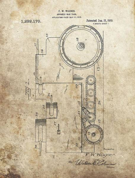 Wall Art - Drawing - 1919 Army Tank Patent by Dan Sproul