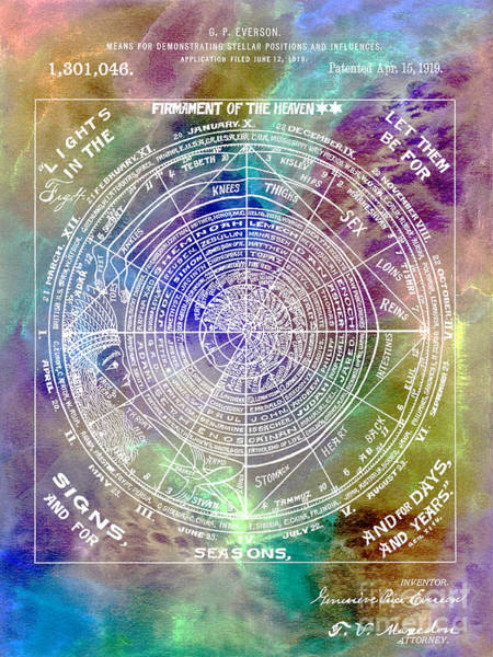 Pisces Photograph - 1919 Astrology Patent Colorful by Jon Neidert
