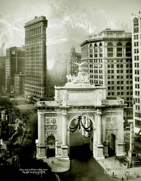 Flatirons Photograph - 1919 Flatiron Building With The Victory Arch by Jon Neidert