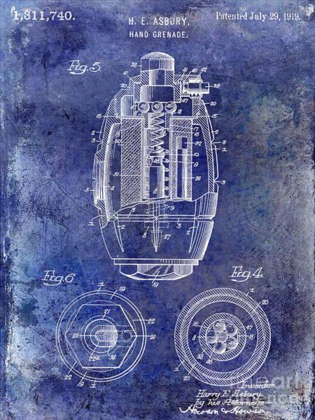 Grenade Wall Art - Photograph - 1919 Hand Grenade Patent Blue by Jon Neidert