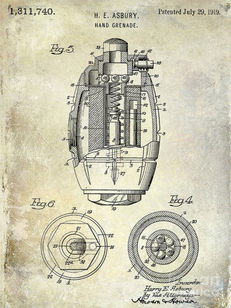 Grenade Wall Art - Photograph - 1919 Hand Grenade Patent by Jon Neidert