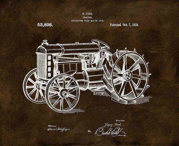 Old Tractor Drawing - 1919 Henry Ford Tractor Brown by Dan Sproul