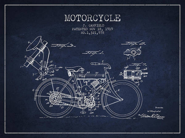 Wall Art - Digital Art - 1919 Motorcycle Patent - Navy Blue by Aged Pixel