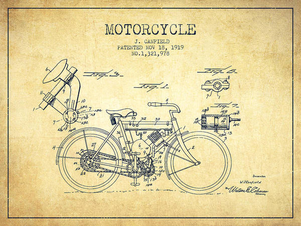 Wall Art - Digital Art - 1919 Motorcycle Patent - Vintage by Aged Pixel