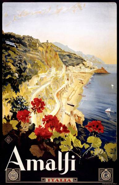 Dolce Wall Art - Digital Art - 1920 Amalfi Coast Italy Travel Poster by Retro Graphics