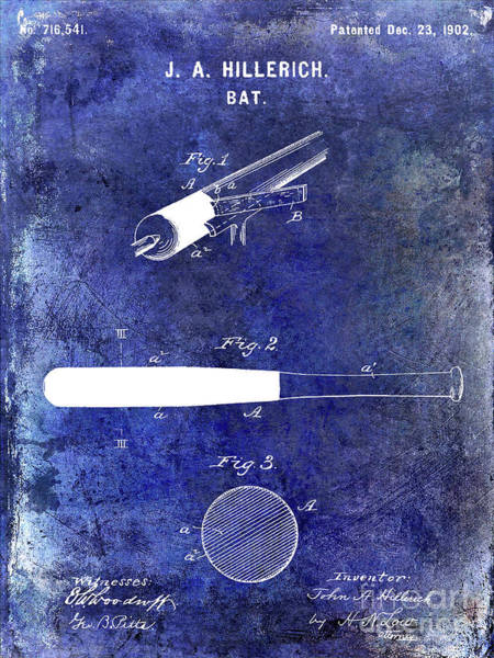 Wall Art - Photograph - 1920 Baseball Bat Patent Blue by Jon Neidert