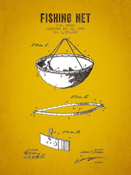Wall Art - Digital Art - 1920 Fishing Net Patent - Yellow Brown by Aged Pixel
