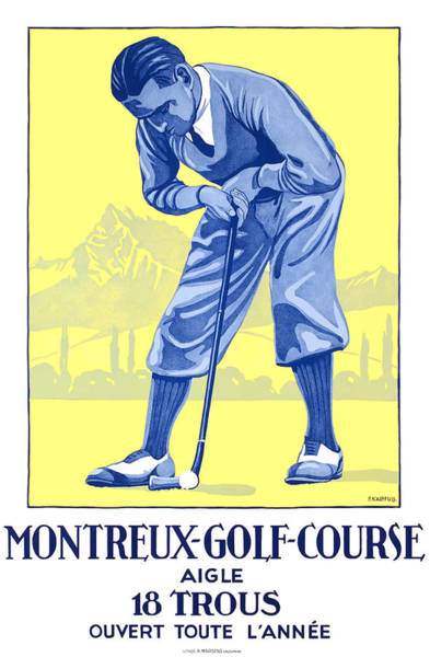 Wall Art - Digital Art - 1920 Montreux Switzerland Golf Travel Poster by Retro Graphics