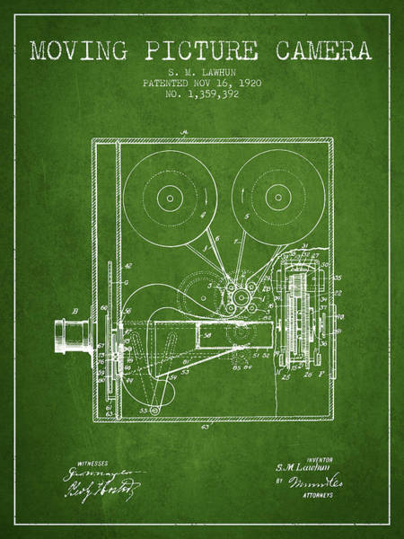 Lens Digital Art - 1920 Moving Picture Camera Patent - Green by Aged Pixel