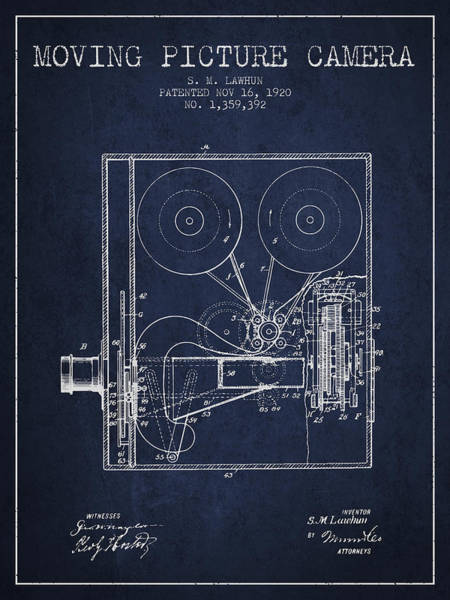 Lens Digital Art - 1920 Moving Picture Camera Patent - Navy Blue by Aged Pixel
