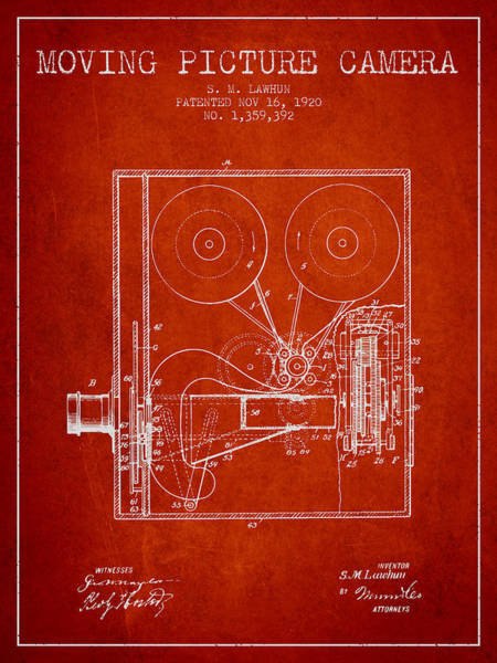 Lens Digital Art - 1920 Moving Picture Camera Patent - Red by Aged Pixel