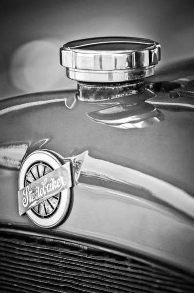 Photograph - 1920 Studebaker Eg Big-six Sedan Emblem -2456bw by Jill Reger
