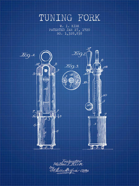 Fork Digital Art - 1920 Tuning Fork Patent - Blueprint by Aged Pixel