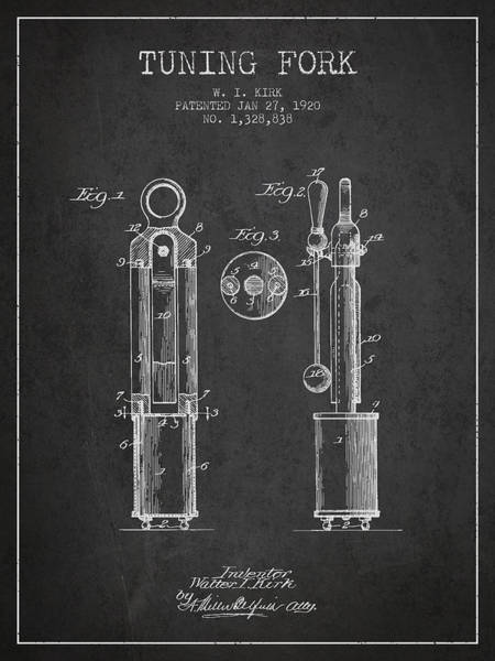 Fork Digital Art - 1920 Tuning Fork Patent - Charcoal by Aged Pixel