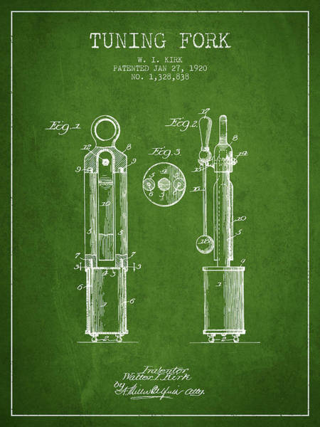 Fork Digital Art - 1920 Tuning Fork Patent - Green by Aged Pixel