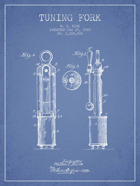 Fork Digital Art - 1920 Tuning Fork Patent - Light Blue by Aged Pixel