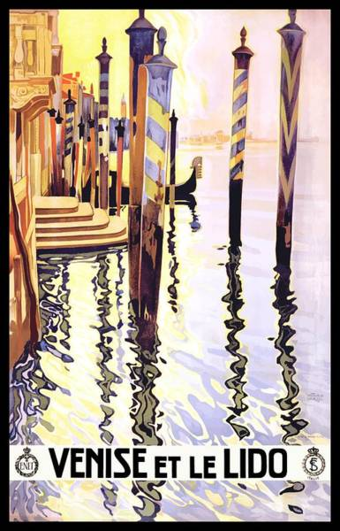 Dolce Wall Art - Digital Art - 1920 Venice Lido Italy Travel Poster by Retro Graphics