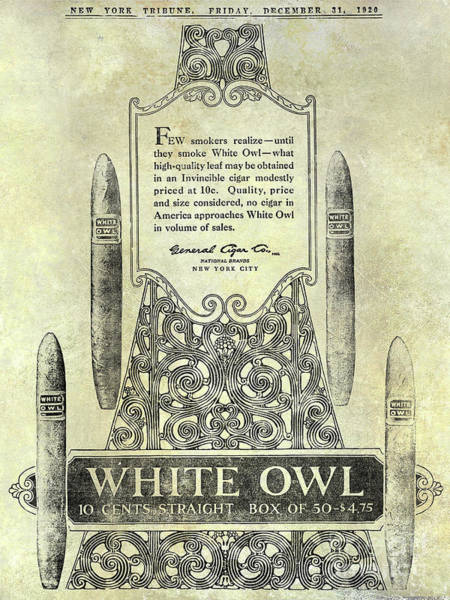 Wall Art - Photograph - 1920 White Owl Cigar Advertisement by Jon Neidert