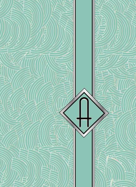 Serif Digital Art - 1920s Blue Deco Jazz Swing Monogram ...letter A by Cecely Bloom