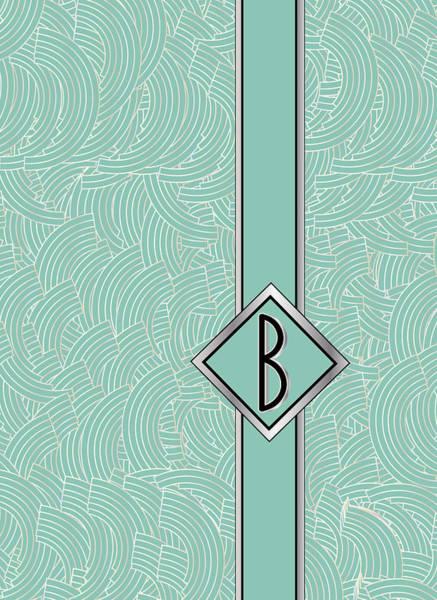 Digital Art - 1920s Blue Deco Jazz Swing Monogram ...letter B by Cecely Bloom