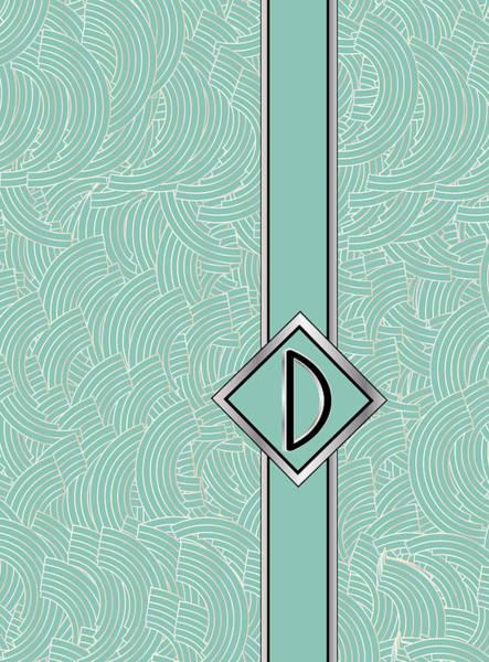 Digital Art - 1920s Blue Deco Jazz Swing Monogram ...letter D by Cecely Bloom