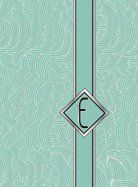 Digital Art - 1920s Blue Deco Jazz Swing Monogram ...letter E by Cecely Bloom