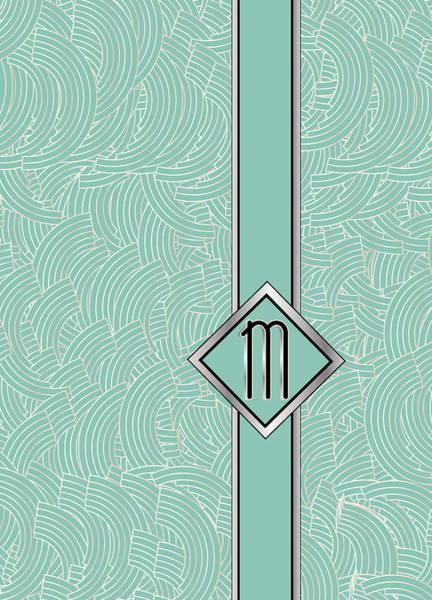 Digital Art - 1920s Blue Deco Jazz Swing Monogram ...letter M by Cecely Bloom