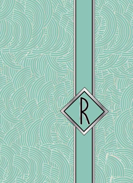 Digital Art - 1920s Blue Deco Jazz Swing Monogram ...letter R by Cecely Bloom