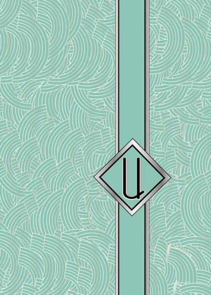 Digital Art - 1920s Blue Deco Jazz Swing Monogram ...letter U by Cecely Bloom