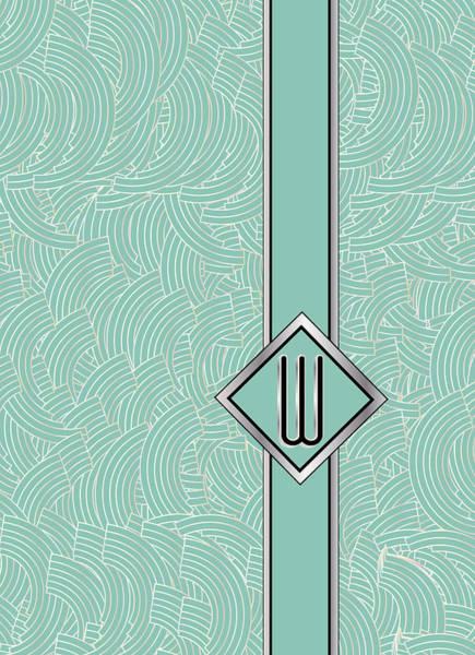 Digital Art - 1920s Blue Deco Jazz Swing Monogram ...letter W by Cecely Bloom