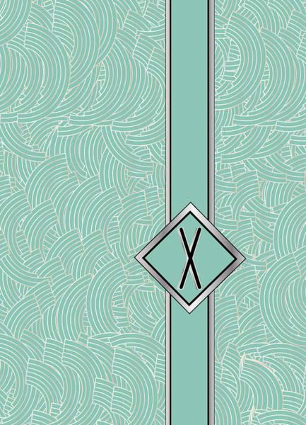 Digital Art - 1920s Blue Deco Jazz Swing Monogram ...letter X by Cecely Bloom