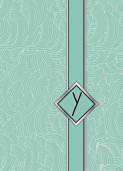 Digital Art - 1920s Blue Deco Jazz Swing Monogram ...letter Y by Cecely Bloom