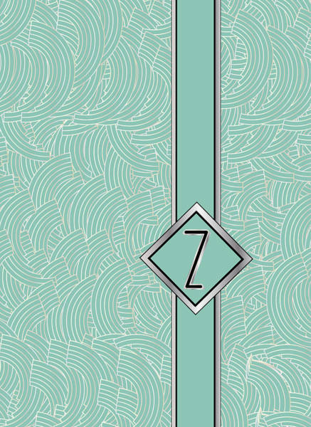 Digital Art - 1920s Blue Deco Jazz Swing Monogram ...letter Z by Cecely Bloom