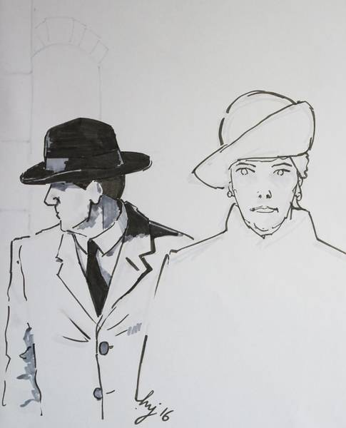 Drawing - 1920s Film Noir - I Think Were Being Followed by Mike Jory
