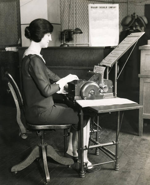 Paper Dress Photograph - 1920s Office Scene by Underwood Archives