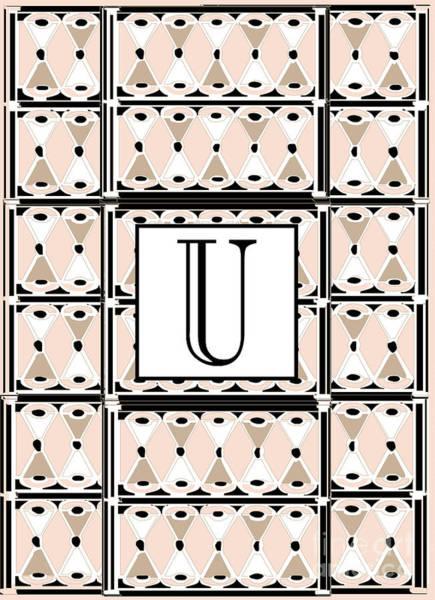 Wedding Gift Digital Art - 1920s Pink Champagne Deco Monogram  U by Cecely Bloom