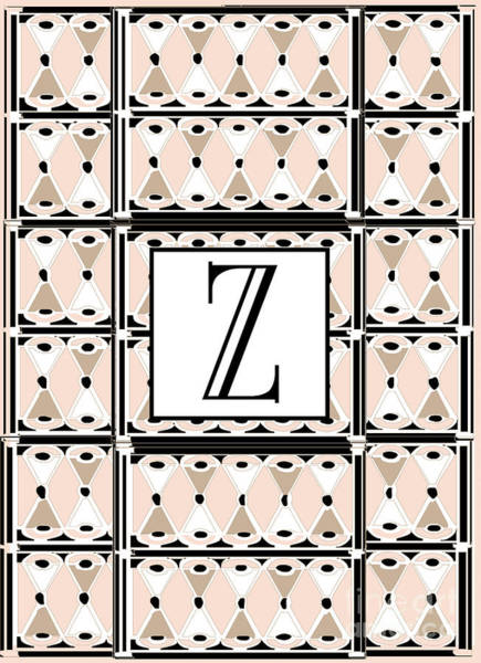 Digital Art - 1920s Pink Champagne Deco Monogram  Z by Cecely Bloom