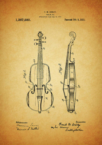 Drawing - 1921 Violin Patent Design by Dan Sproul
