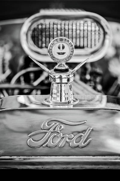 Wall Art - Photograph - 1922 Ford T-bucket Hood Ornament - Emblem -0630bw by Jill Reger
