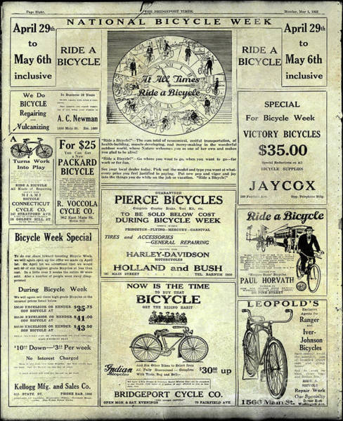 Wall Art - Photograph - 1922 National Bicycle Week Ad by Jon Neidert