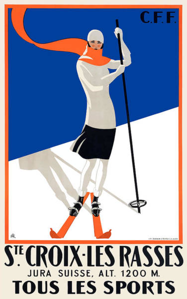 Wall Art - Digital Art - 1922 Sainte-croix Switzerland Ski Travel Poster by Retro Graphics