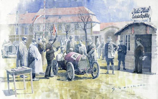Wall Art - Painting - 1922 Zbraslav Jiloviste Bugatti T13 Brescia Joan Halmovici Winner  by Yuriy Shevchuk