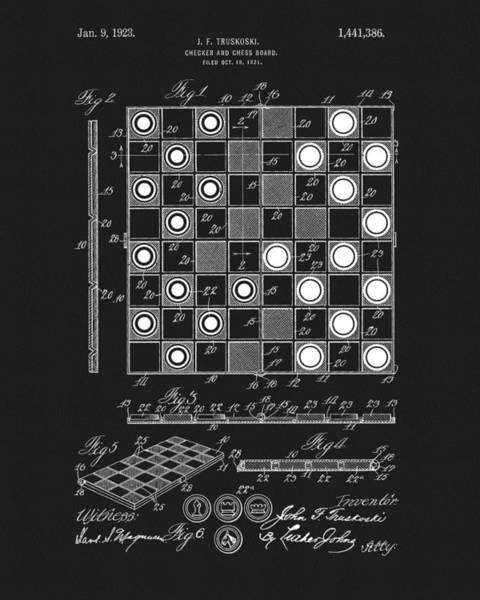 Checker Drawing - 1923 Checkers And Chess Board by Dan Sproul