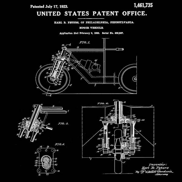 Wall Art - Photograph - 1923 Motorcycle Patent In Black by Bill Cannon